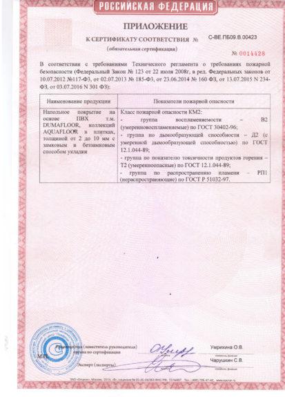 Сертификат пожарной безопасности КМ2